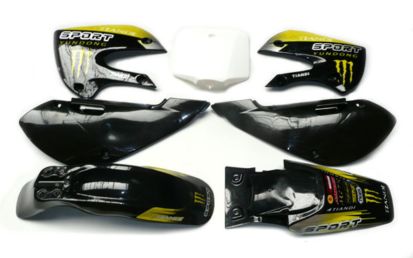 Kit plastique+stickers Monster jaune type KLX110/SP4/FUSION/RSR08/9...