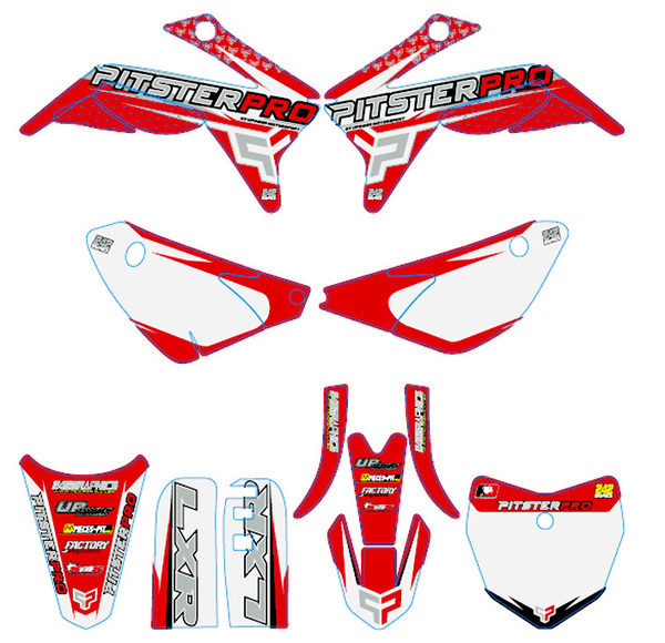Kit stickers PITSTERPRO LXR150RR rouge/blanc